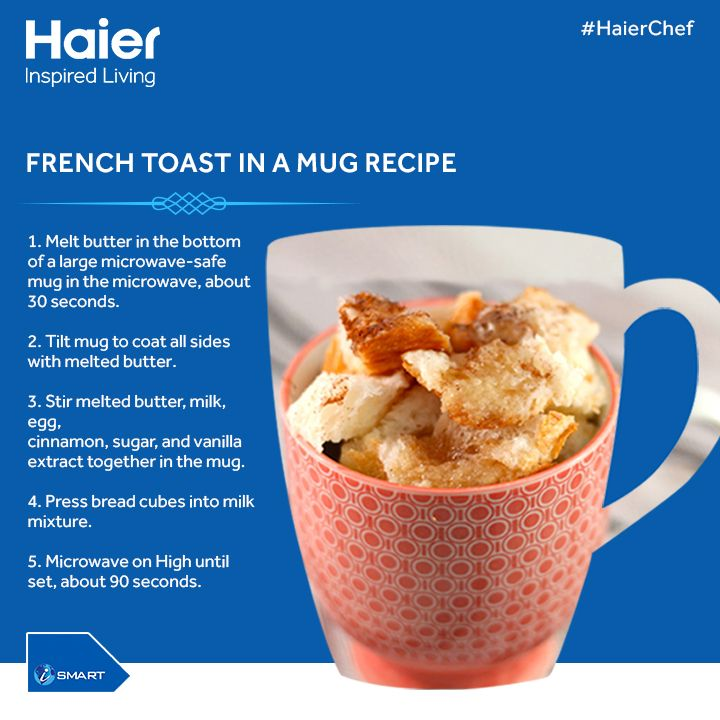 This winter, prepare the crunchy #FrenchToast in a mug with #HaierMicrowave that also keep food and snacks warm for up to 90 mins. #HaierIndia #Technology #InspiredLiving #Innovation #Lifestyle #Cooking #Food