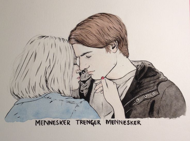 A commisioned illustration I made, of William and Noora from SKAM