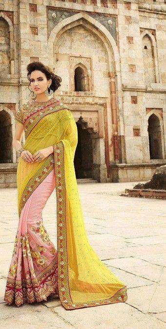 Pink Georgette Saree with Zari,Resham Thread and Stone Work #bandbaajaa.com #bandbaajaa #weddingsarees #weddingsaris #bridalsarees #bridalsaris #designersarees #designersaris #sarees #saris #weddingwear #weddingshopping