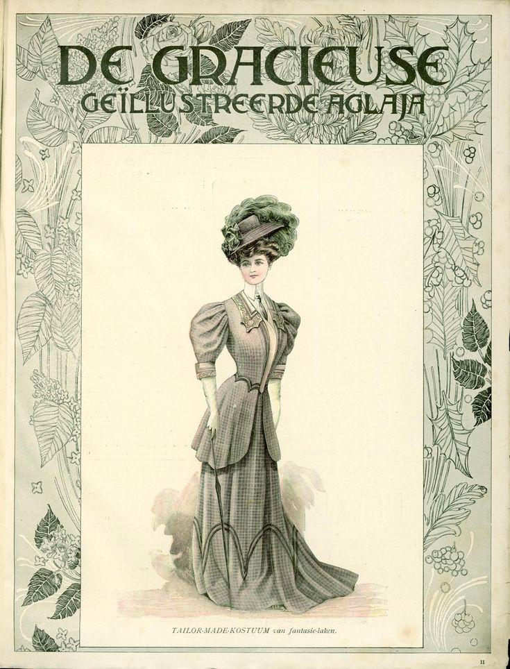 [De Gracieuse] Tailor-made-kostuum van fantasie-laken (June 1907)
