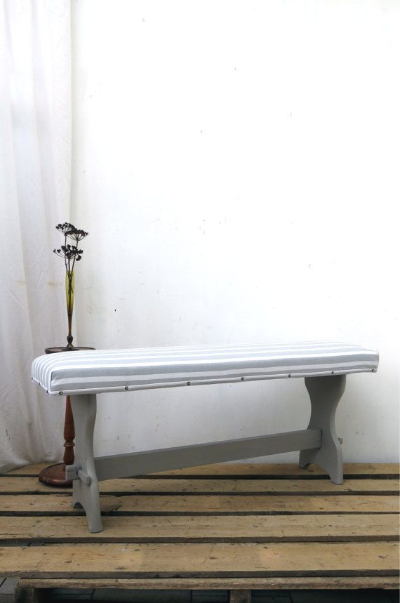 Refectory Bench Hallway Dining Window Seat Ottoman Upholstered Grey White  French Linen