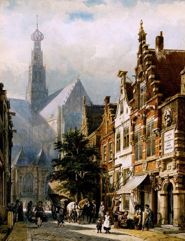 Cornelis Springer in the streets of Harlem, Netherlands, 1870.