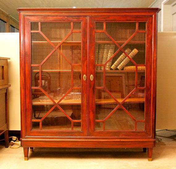 Mahogany mid-to-late Victorian enclosed bookshelf/cabinet by TheLoch on Etsy