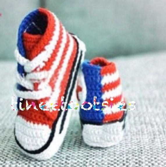 Uncinetto Converse bambino scarpe bambino fatti a di tineetootsies