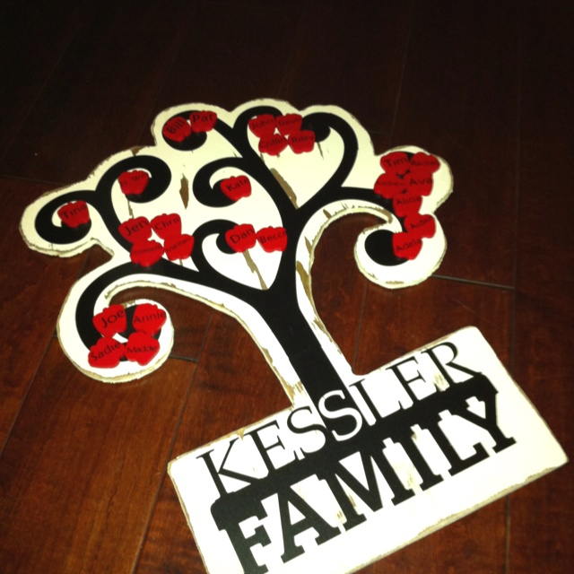 Family tree using my Silhouette Cameo!  Tree and apples are painted wood, tree trunk and names on apples are black vinyl. I used a Silhouette image but welded the family name onto it. Perfect homemade Christmas gift for the in-laws who seem to have everything!Homemade Christmas Gift