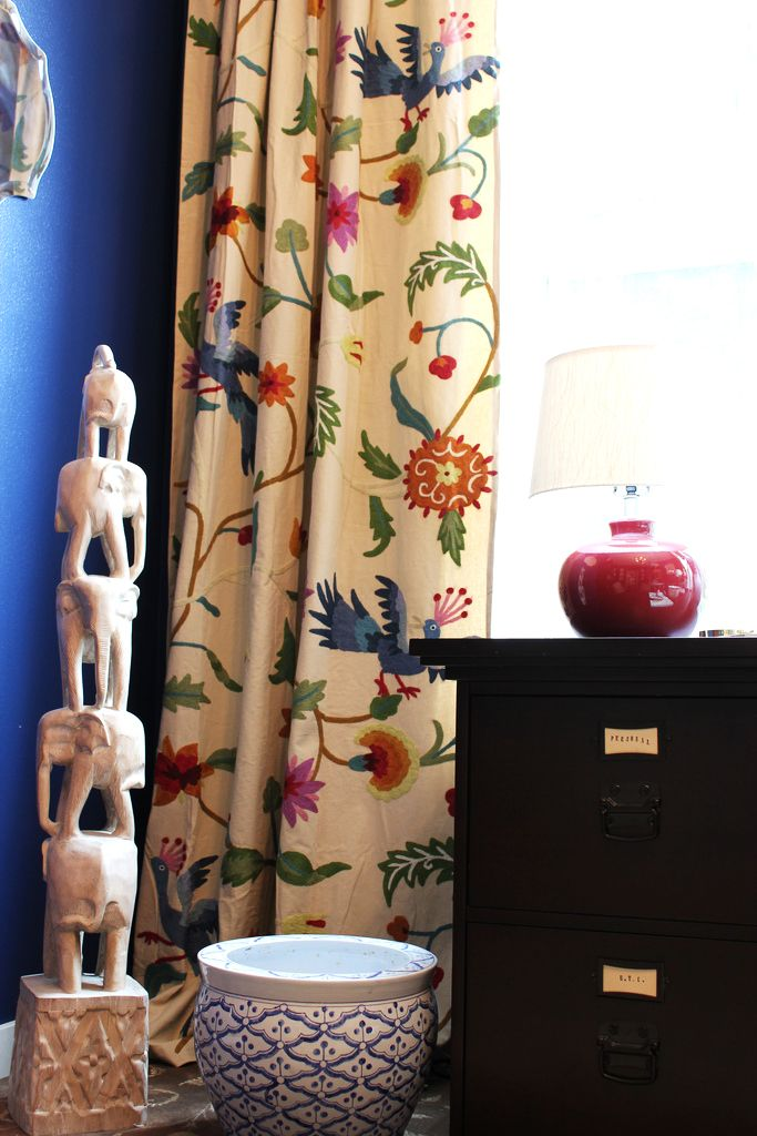 Navy walls and colorful curtains from @Anthropologie via my office makeover! #LandOfNod