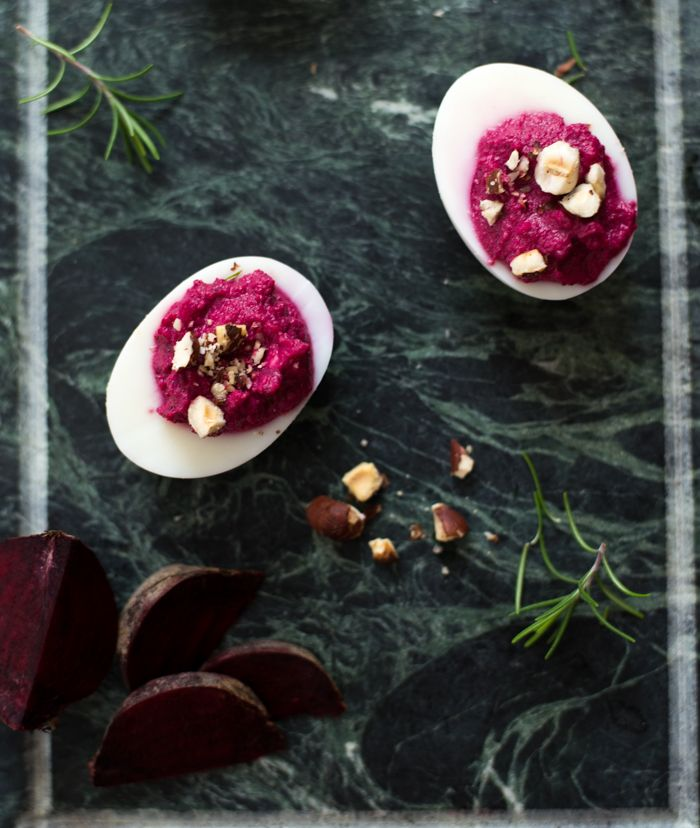 Beetroot purée, rosemary and hazelnut deviled eggs