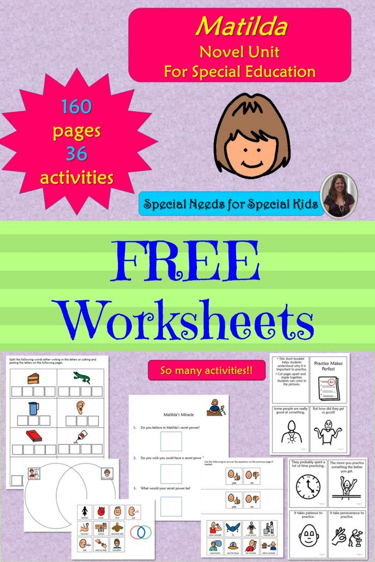 Who doesn't like the word FREE? Have you ever wanted to do a novel study with your students? Worried they would not be able to benefit from it? Then, you will love this novel study on one of my favorite stories, Matilda. Get some free worksheets to go with this novel. #specialneedsforspecialkids #SPED #specialed #SpecialEducation #lessonplans #novelunit #matilda #roalddahl