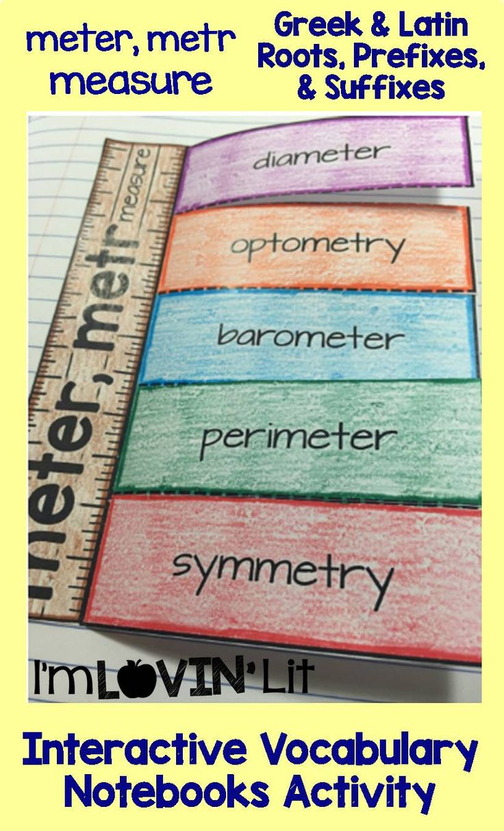 Meter, Metr - Measure; Greek and Latin Roots, Prefixes and Suffixes Foldables; Greek and Latin Roots Interactive Notebook Activity by Lovin' Lit