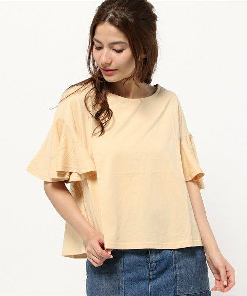 Kastane(カスタネ)の袖フレアーTee(Tシャツ/カットソー)|イエロー
