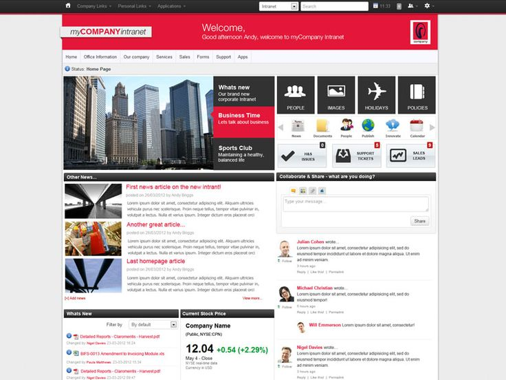 modern intranet design - Intranet Design Ideas