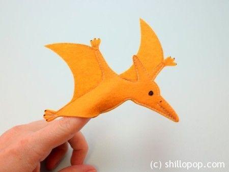 птеранодон выкройки пальчиковых игрушек динозавров из фетра