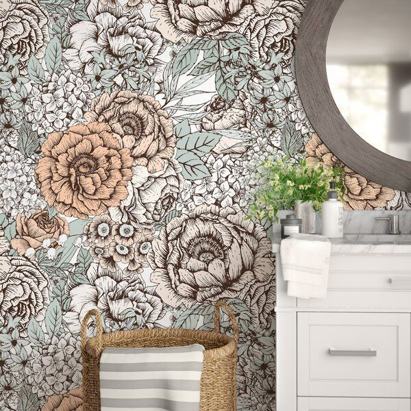 Noriega Removable Vintage Bouquet Flowers 8 33 L X 25 W Peel And Stick Wallpaper Roll Peel And Stick Wallpaper Wallpaper Roll Wallpaper Panels