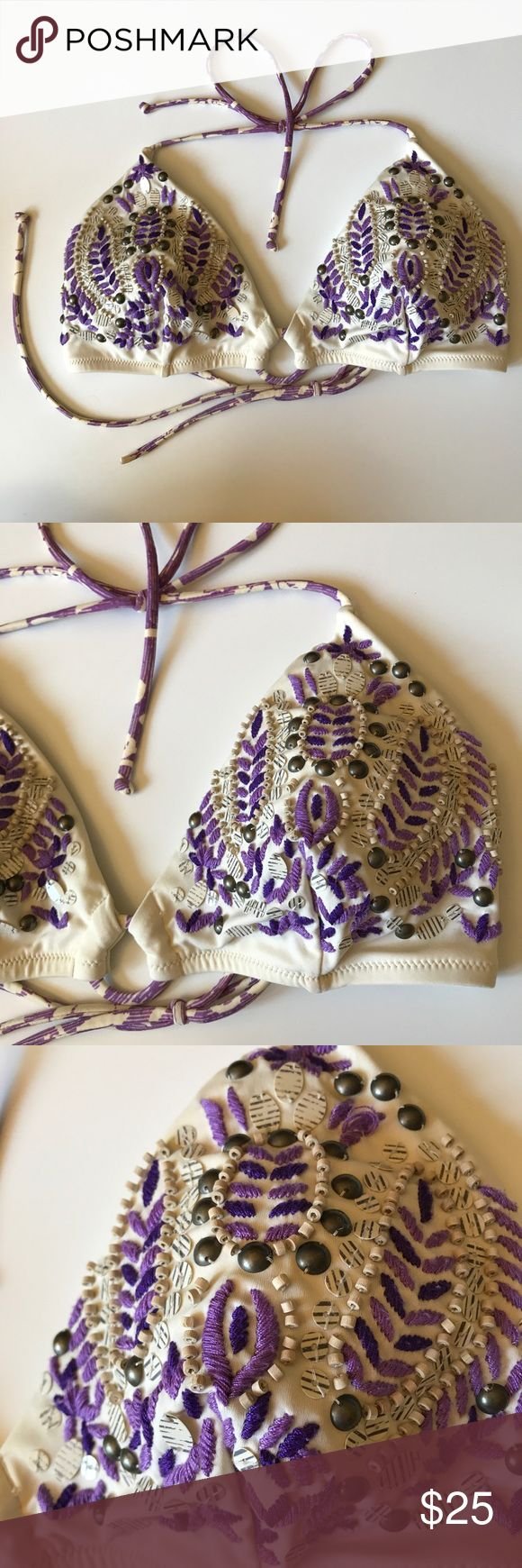 VS Boho Purple Beaded Triangle Bikini Top ✨ Beautifully embroidered Victoria's Secret purple Beaded Triangle bikini top in a size Large! Great condition! Gently worn and washed a couple times! The beads are pretty in tact! ✨ PINK Victoria's Secret Swim Bikinis
