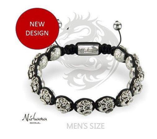 Nirbana Soul - Naga - Mens Silver Dragon Shamballa bracelet