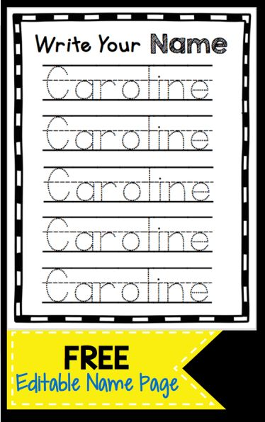 Learn to Write Your Name – FREEBIE - use this free printable worksheet to type and edit your child's name - can be used for all of your students too if you're a teacher!