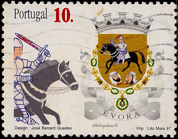 Portugal.  Arms of the Districts of Portugal, Evora.  Scott 2180 A609, Issued 1997 Sept. 17, 19. /ldb.