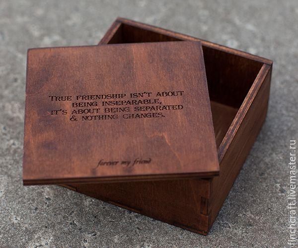 Купить Деревянная коробочка с любым вашим текстом - коричневый, деревянная коробка, упаковка, коробочка, фанера