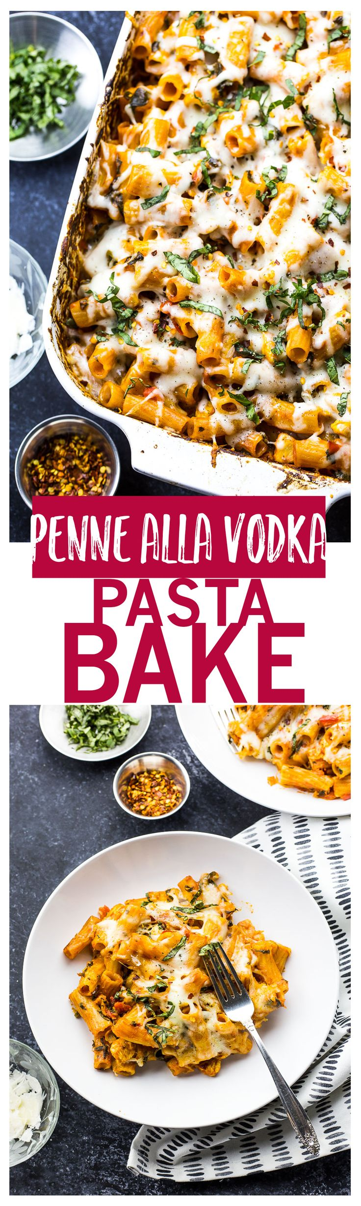 Penne alla Vodka Pasta Bake | Creamy, velvety vodka sauce, layers of spinach, red pepper and chicken