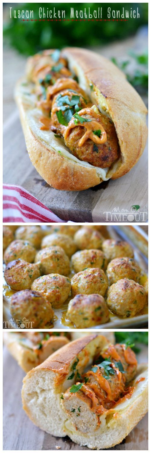 Enjoy the amazing flavors of Tuscany with these family-friendly Tuscan Chicken Meatball Sandwiches! | MomOnTimeout.com #ad