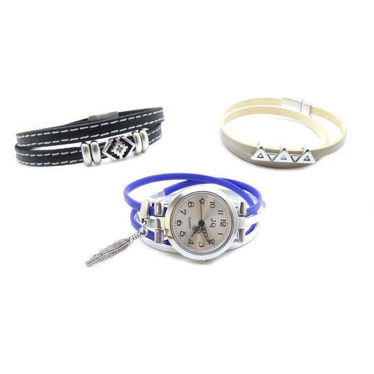 Kit bracelet montre cuir interchangeable avec 2 bracelets supplémentaires…