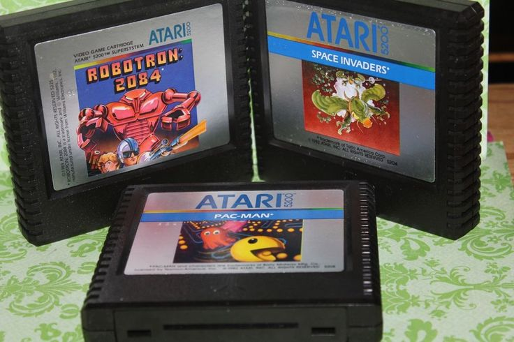 3X Vintage Atari 5200 game cartridge,Space Invaders,Robotron,Pac  Mac  #ATARI