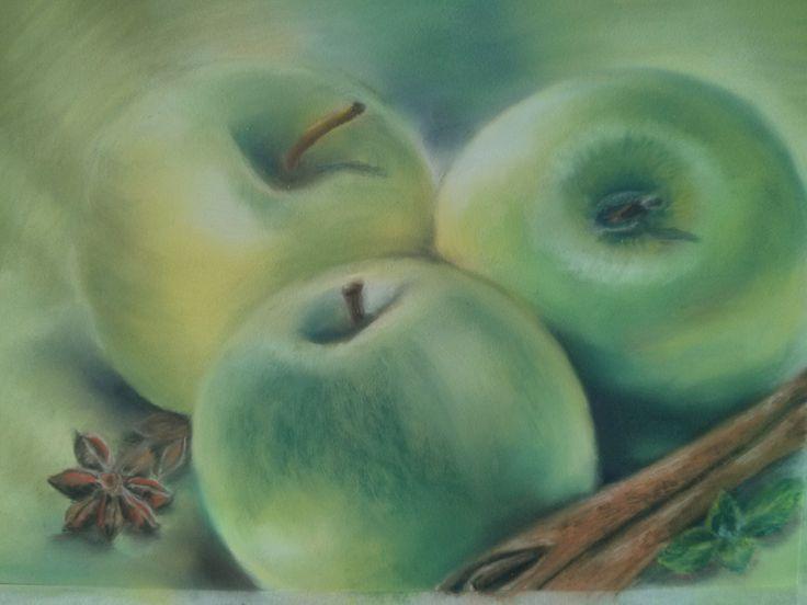 Green apples.  Pastel paper Pastelmat , pastel pencils, soft pastels