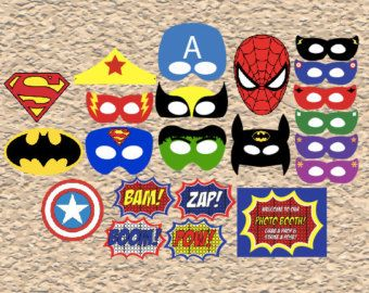 printable Superhero masks photo booth props, digital Superhero party favors photobooth costumes dress up