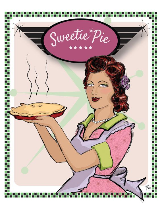 Sweetie Pie, I Love You Card, Romantic Card, Anniversary Card, Humor, Rockabilly Card, 50s, Greeting Card, Blank Inside