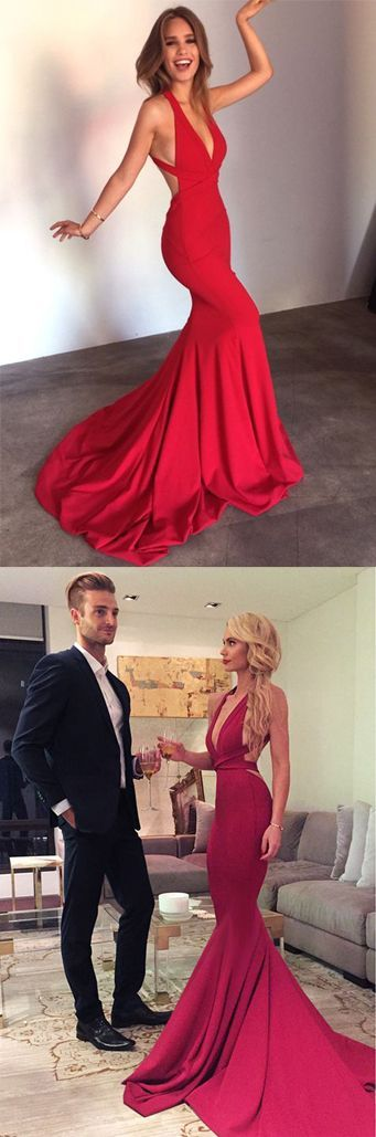 Long Prom Dresses,Cheap Prom Dress,Party Dresses,Prom Gowns,Gowns Prom,Evening Dresses,Cheap Prom Dresses,Dresses for Girls,Prom Dress UK,Prom Suit,Prom Dress Brand,Prom Dress Store,Deep V-neck Red Mermaid Simple Cheap Sexy Backless Prom Dresses, M101