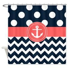 Navy Coral Anchor Shower Curtain