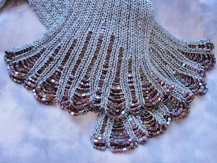 Knitting Wearable Art : Silk ribbon and bead scarf women yarn hand