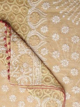 Beige Kota Doria Cotton Chikankari Embroidered Dupatta