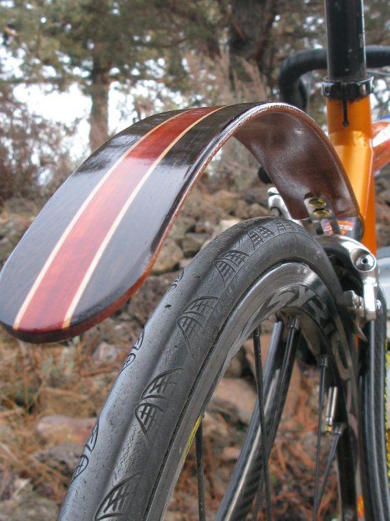 Holz Fahrrad Kotflugel Hand Aus Wenge Und Blut Holz Tolle Etsy Bike Fender Wood Bike Bicycle