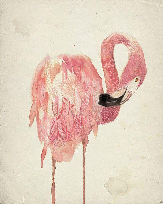 Flamingo Print impresión de Giclee Flamingo de Arte por LunaReef