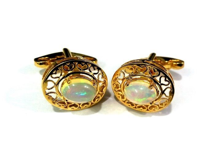 14 K Yellow Gold Men's Cufflinks With Natural Cabochon Ethiopian Opal Gemstone  #Unbranded