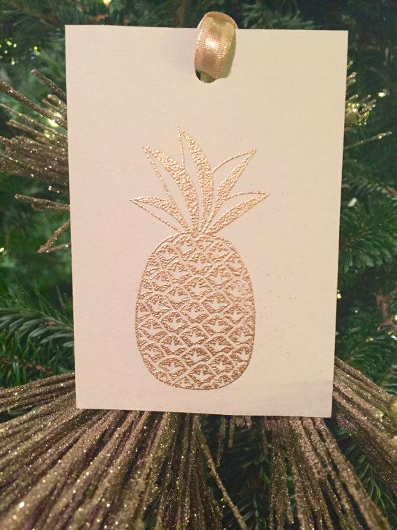Silver Bells Collection Pineapple Hospitality Gift Tags or Wine Ties by PaperbyLP #gifttag #wine #pineapple #southernhospitality #south #gold #metallic #christmas #present