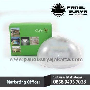 Panel Surya Jakarta, Lampu Dinding, Lampu Tenaga Surya, panelsuryajakarta.comLampu Dinding Tenaga Surya sensor gerak PIR ( Passive Infra Red ) dengan tenaga matahari bisa berfungsi sebagai lampu pagar / lampu taman / lampu koridor / lampu dinding.  [Lampu Dinding Tenaga Surya Sensor Gerak PIR ( Passive Infra Red ) 6 LED Super Terang]  Sensor gerak PIR (Passive Infra Red) adalah sensor yang berfungsi untuk pendeteksi gerakan yang bekerja dengan cara mendeteksi adanya perbedaan