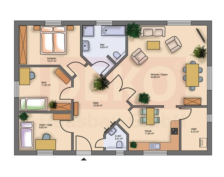 Grundriss bungalow  Die 25+ besten Grundriss bungalow Ideen auf Pinterest | Haus ...