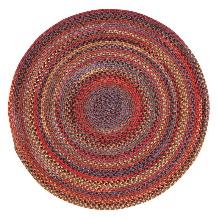 "Capel Rugs Songbird Red Round Braided Rugs (9'6"" x 9'6""), Multi, Size 9' x 9'"