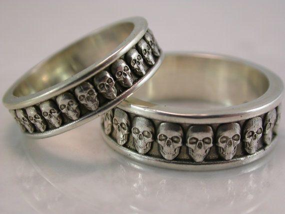 Bande de crâne réglée argent Bronze acier par MetalMonkeyJewellery
