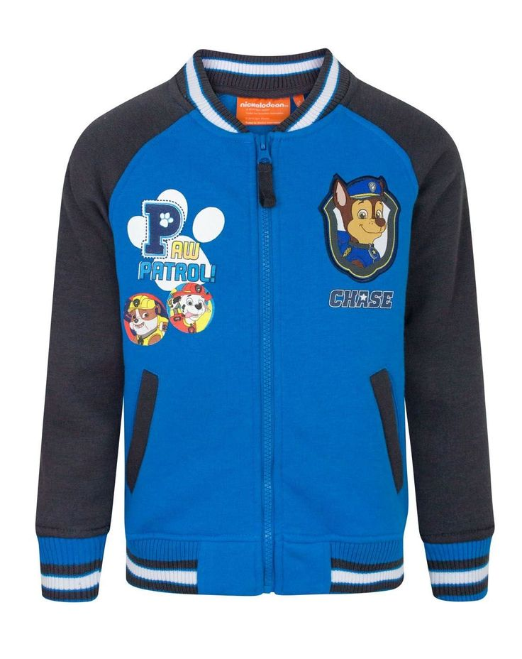 Paw Patrol Chase Boy's Bomber Jacket (3 Years). Officially licensed Paw Patrol merchandise. Perfect for Paw Patrol Fans. Design features Chase patch. Contrasting charcoal sleeves and front zip.