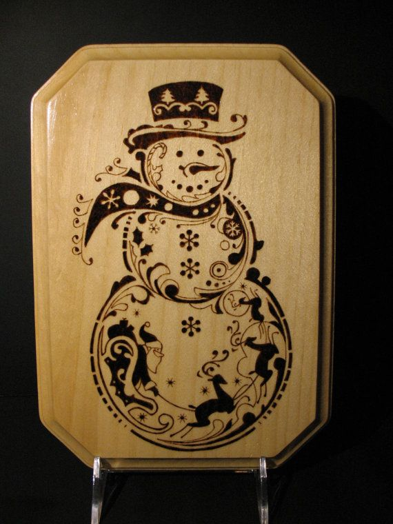 pyrography - snowman on a plaque