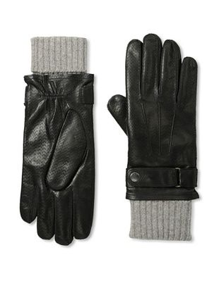 Portolano Men's Perforated Nappa Leather Lined Gloves (Black/Taupe/Heather)