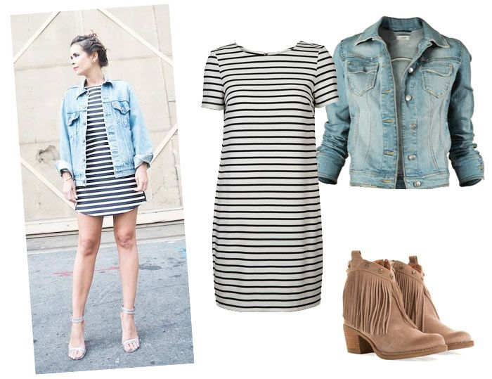 Denim jacket with stripped white dress