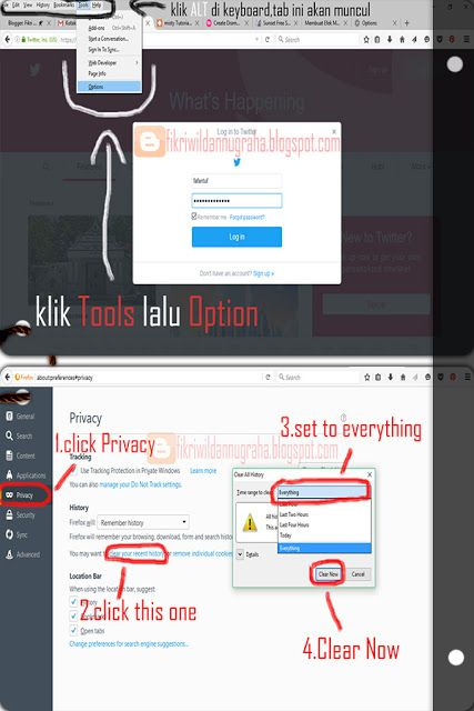 tutorial how to clean history login and everything browser safe pinterest facebook twitter cara menghapus semua password