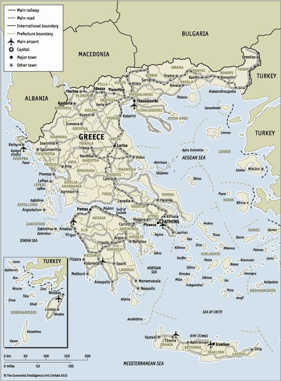 Detailed map of Greece.