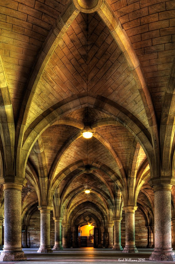 The classic view of the Cloisters in Glasgow University, Scotland