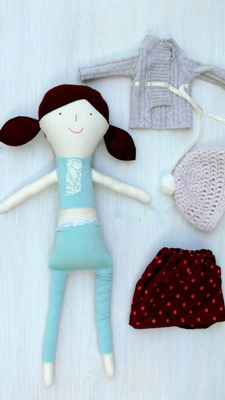 Dress Up Rag Doll, Cloth Doll, Burgundy hair doll, PAOLA