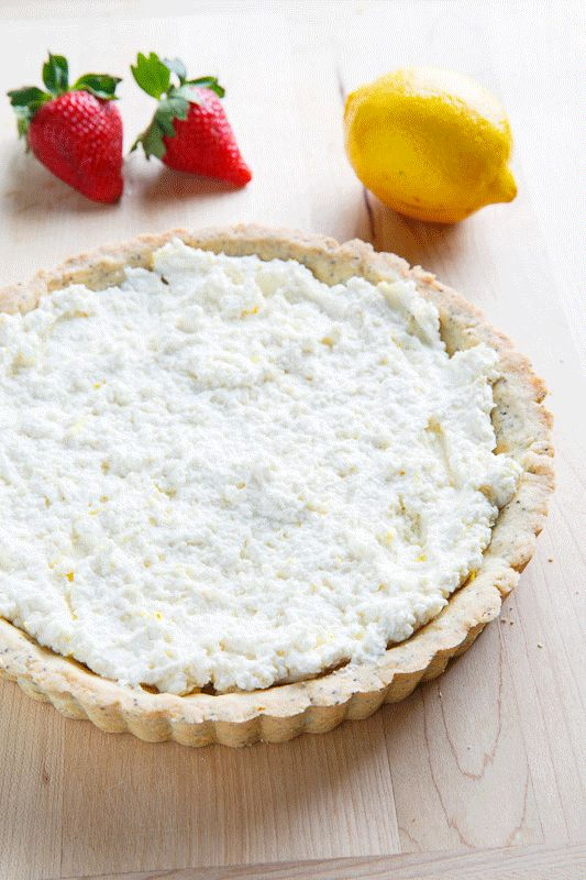 Lemon Ricotta Strawberry Pie with Poppy Seed Shortbread Crust | Recipe
